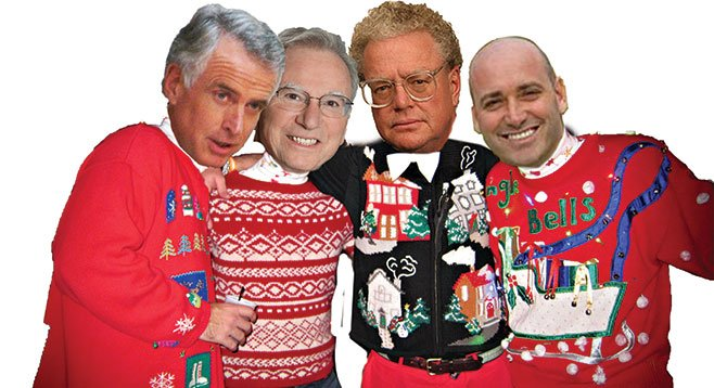 Jim Waring, Irwin Jacobs, and Bill Lerach are holiday partying for school-board candidate Kevin Beiser.