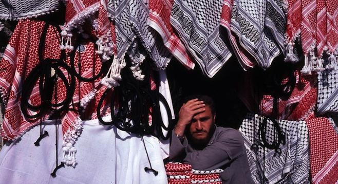 Amman, Jordan, shop selling traditional Arab headcovers.