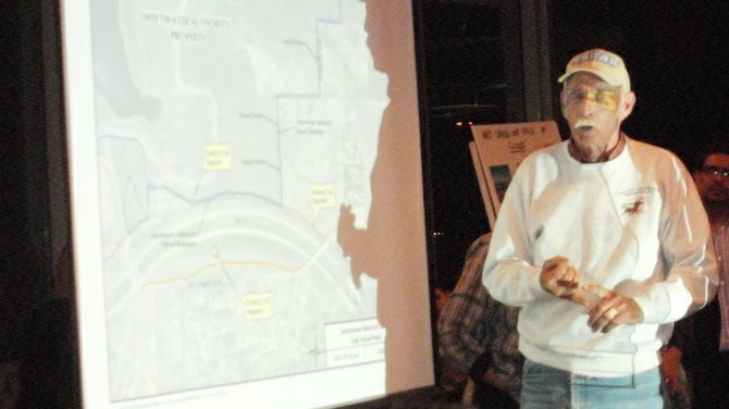 Dwayne Severn and the map of the Sweetwater County Park and Reservoir