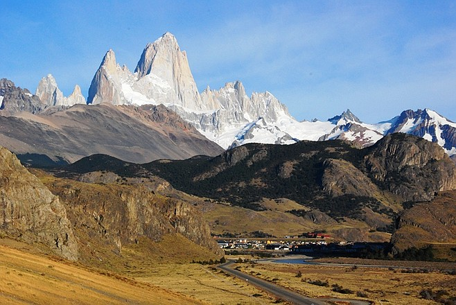 Approaching the town of El Chaltén and its mesmerizing backdrop.