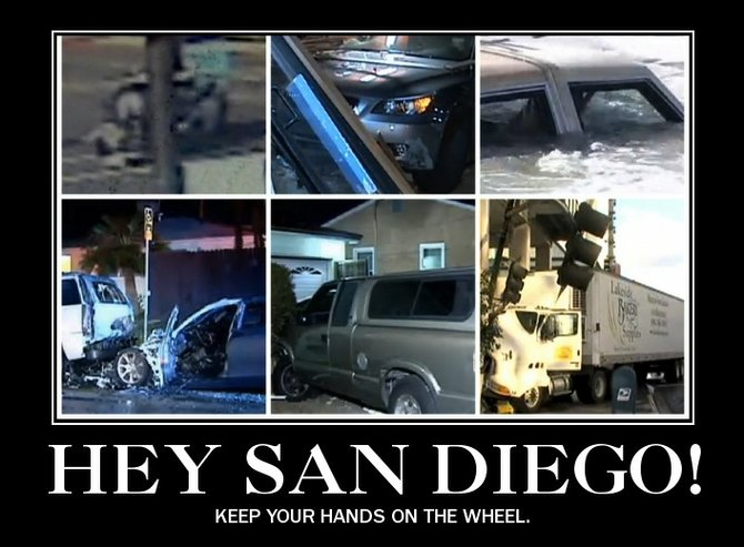Cal-DOT's billboard mock-up, featuring, clockwise from upper left: Sheriff's Deputy car runs into woman crossing street in wheelchair, December 6, Encanto; BMW station wagon crashes into taco shop, North Park, December 6; Car floating in surf, Oceanside, December 4; truck crashes into condo, Banker's Hill, December 6; pickup truck smashes into multiple parked cars, Chula Vista, December 2; car smashes into multiple cars before bursting into flames, Pacific Beach, December 3.