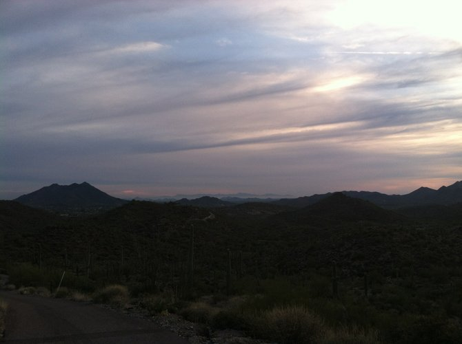 Dusk falls on Carefree, Arizona