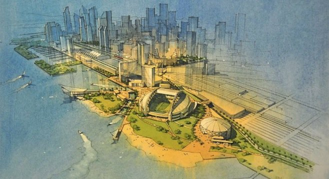 Artist's rendering of proposed downtown Chargers stadium