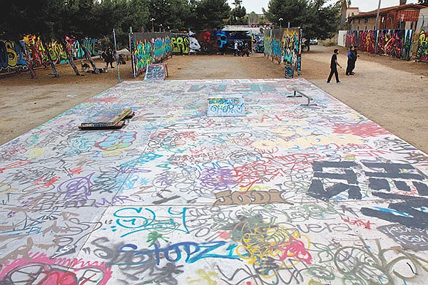 Even the Writerz Blok skate park is painted.