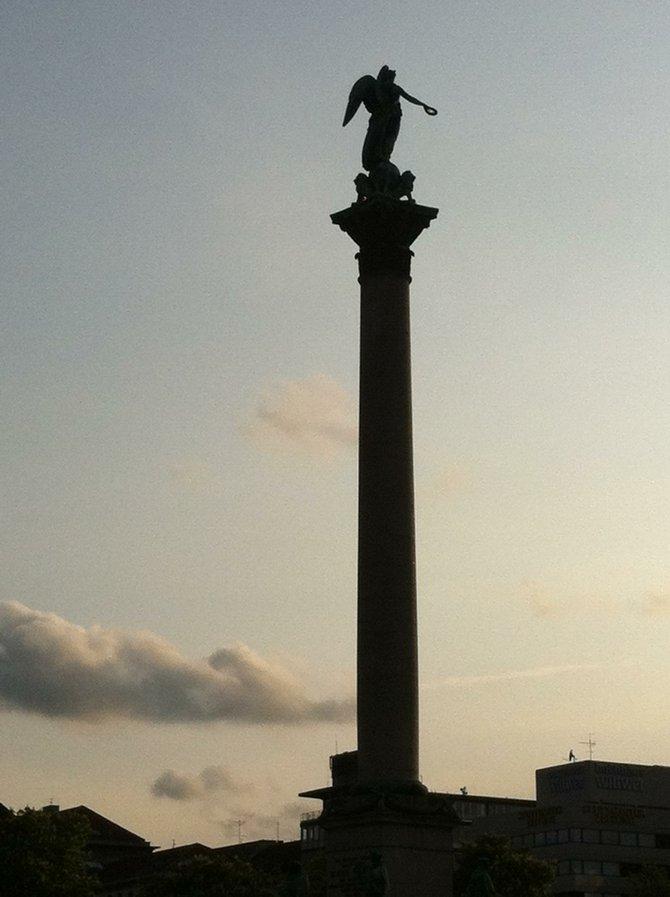 Monument at dusk, Stuttgart.