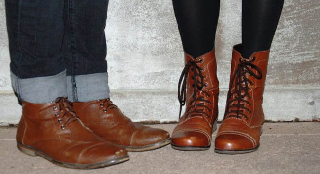 Lisa and Dustin Lamont wore adorable his-and-hers boots.