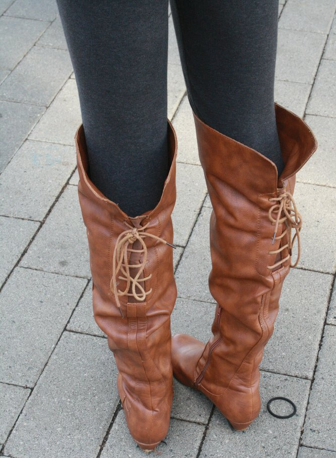 Michelle Shen's lace-up boots