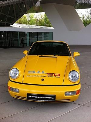 Outside the Porsche Museum.