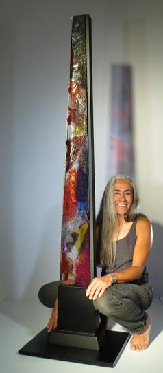 Michelle Kurtis Cole with one of her non-coral sculptures
