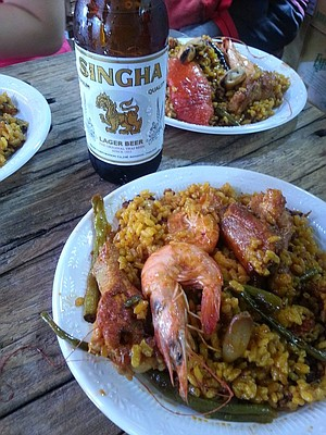A Thai meal of prawns and rice goes well with Singha.