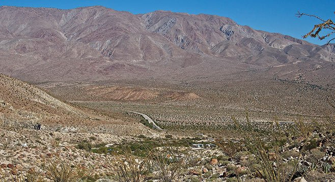 Note the white granite rocks for which the Tierra Blanca Mountains and Moonlight Canyon were named.