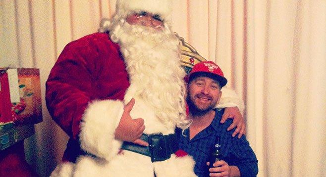 Brendan B takes Santa on his knee and asks for his cherished California burrito.