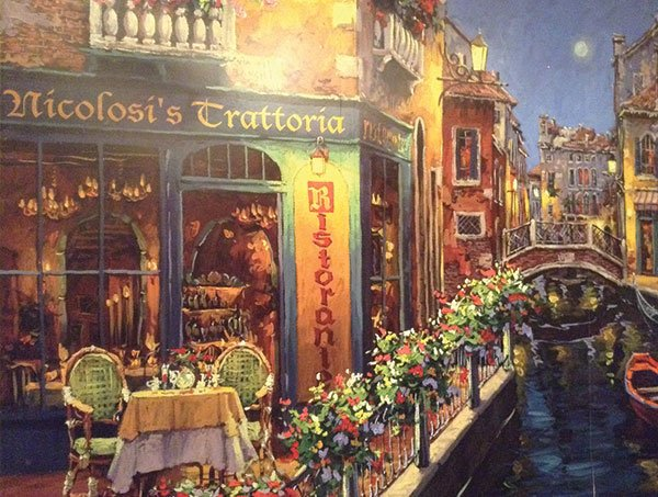 One wall is a Kinkade-esque mural depicting Nicolosi's as it might appear in Venice.
