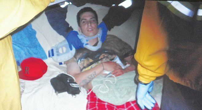 Evidence photo of Tyler Blume after he was shot.