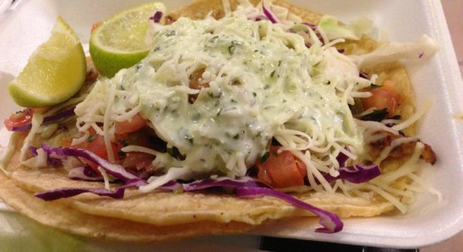 Undefeated Seafood Taco, with grilled, blackened mahi-mahi.
