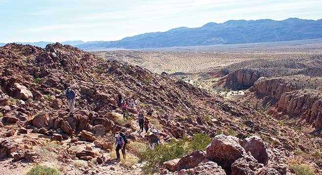 Hikers near the top of the West Butte of Borrego Mountain.