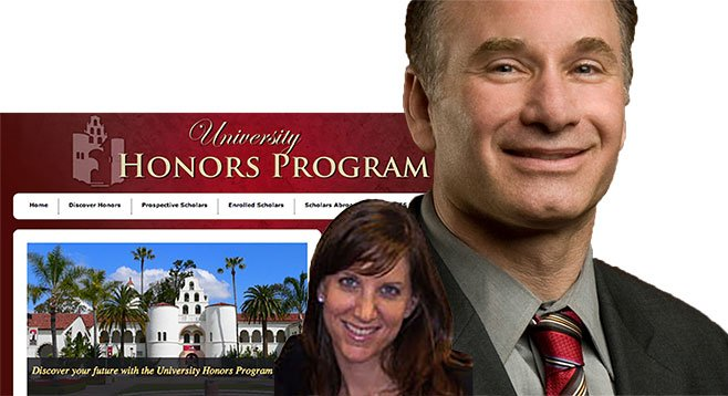 Stacey Sinclair and Elliot Hirshman of SDSU seek high-achieving students for their party school.