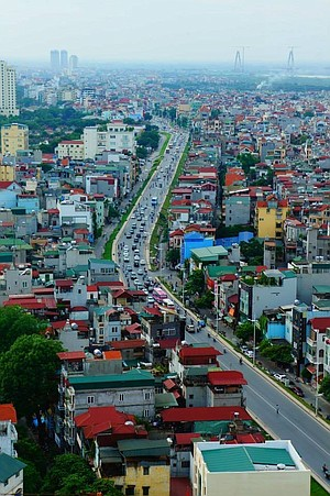 Main thoroughfare from the top of the Hanoi Sofitel.