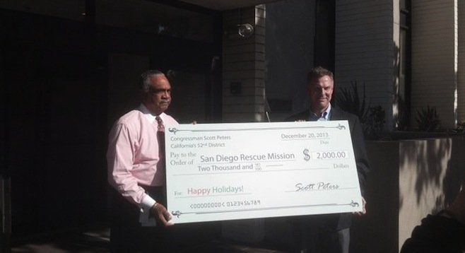 Herb Johnson and Scott Peters at the San Diego Rescue Mission