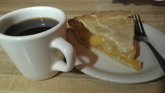 Peach pie and a small cup of coffee at the Barbecue Pit.