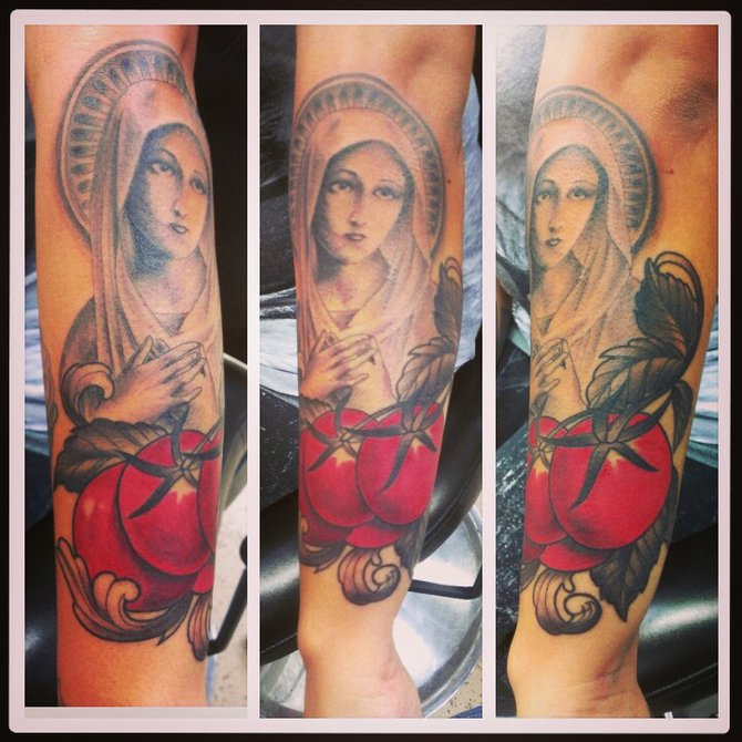 A memorial to my Grandfather. He worked in the tomato fields almost his whole life and always had a picture of the Virgin Mary in his wallet.   Made by Mark from Body Marks Tattoo in northpark on el Cajon Blvd . Bodymarkstattoo.com