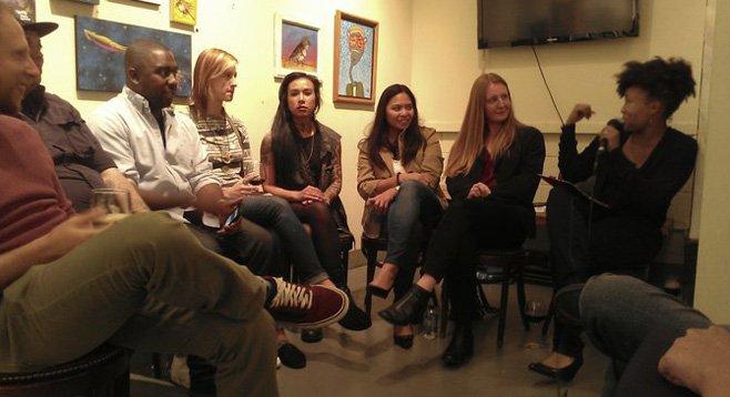 """Artists sitting on the """"Art Speaks"""" panel"""