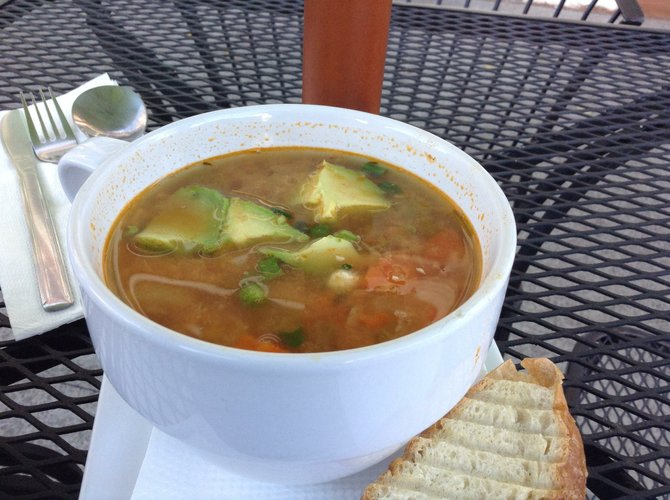 The spicy chicken Picadillo soup