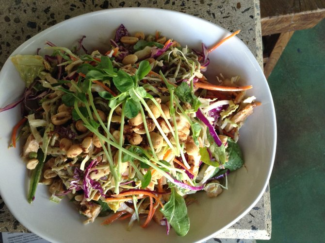The soba noodle, vegetable and chicken salad
