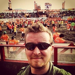 Author's Zapote bullfight selfie – a safe distance from the raging toros.
