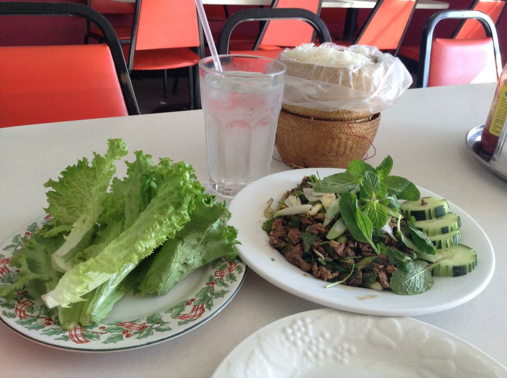 Larb, lettuce and the Khao Thip sticky rice basket