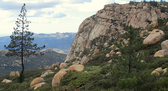 A view of the imposing face of Corte Madera Mountain is impressive.