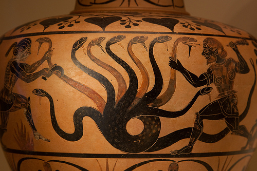 Hercules and the hydra at the Getty Villa.