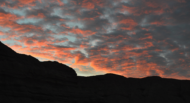 Sunset from an Anza-Borrego slot canyon.