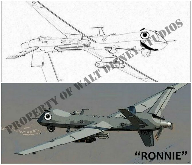 """Ronnie, the hero of Drones, was named after """"the great President Ronald Reagan."""" Ronnie is a skilled but inexperienced young drone whose misgivings about his role in the War on Terror make him so anxious that he botches his first mission, killing several innocent civilians in the process. After that, he must overcome angry protestors at home, irate foreign governments abroad, and his own interior demons in order to defeat the evil plot set in motion by the film's militant villains."""