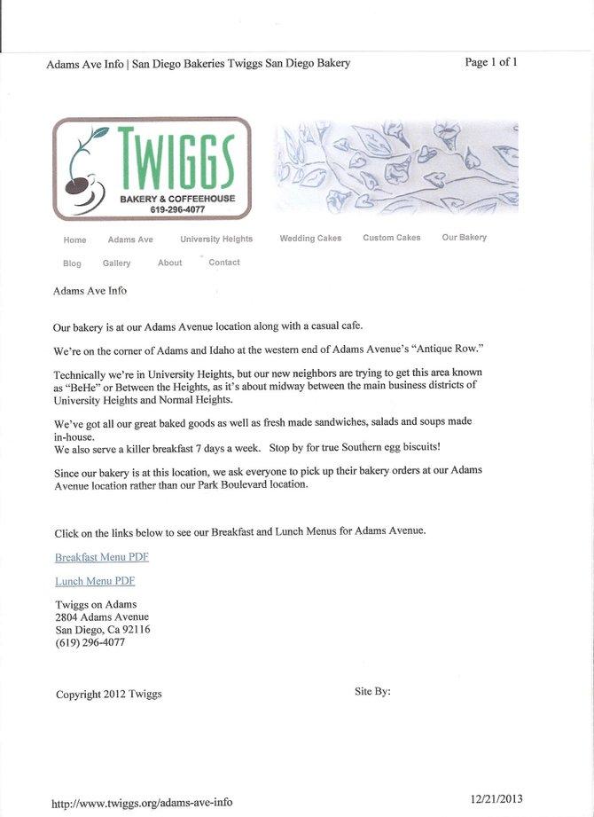Twiggs on Adams Website claims UH location