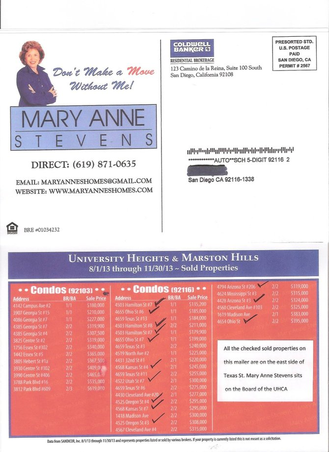 Mary Ann Stevens east of Texas St condos sold as located in UH
