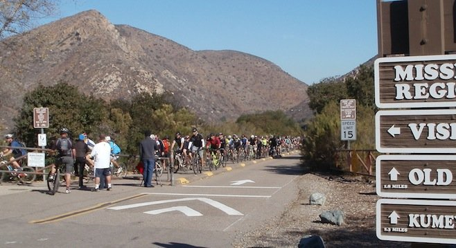 The finish line of the protest at Mission Trails Regional Park