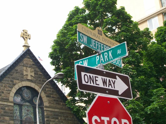 Sign overload in front of a church in Portland, Oregon.