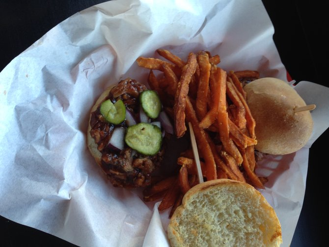 The BBQ pulled pork slider with sweet potato fries