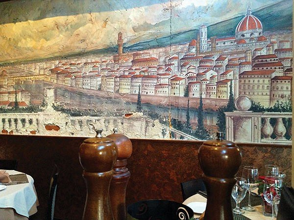 Il Duomo in this mural of Florence reminded Bedford of the new Downtown Library.