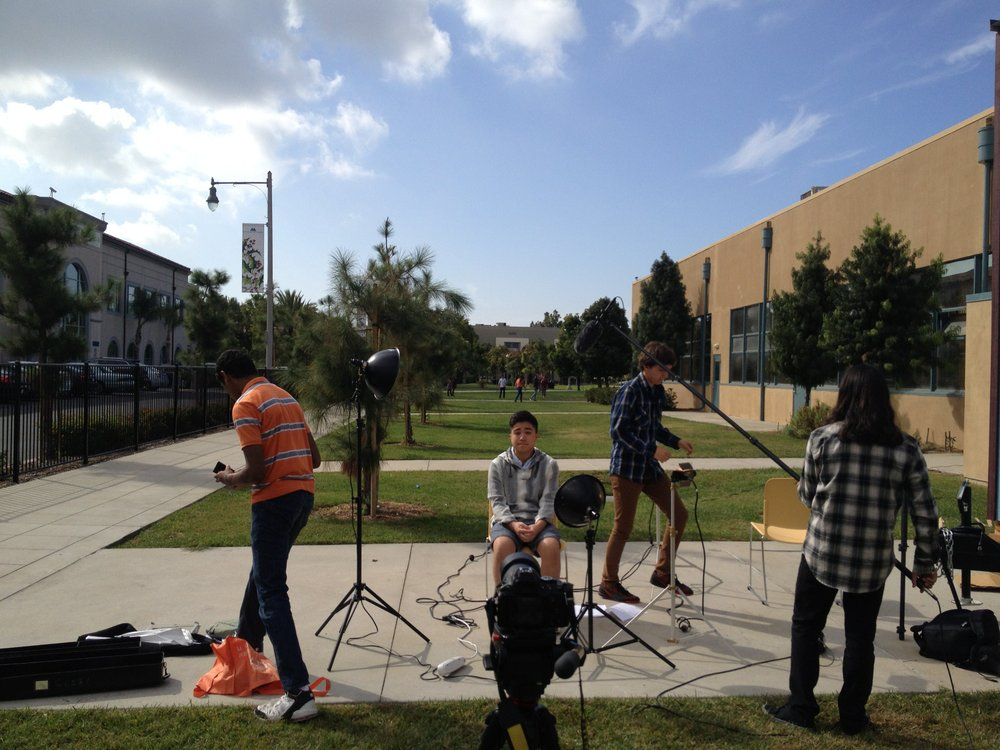 Students doing AV work on the Reel Delicious project.