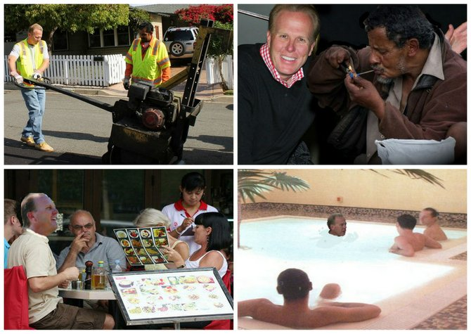 """Scenes from the mayoral candidate's recent outreach to San Diego's minority communities. Clockwise from upper left: getting his hands dirty with Manuel Labor in Linda Vista, """"cracking up"""" with a person of color in Skyline, going over some policy ins and outs with the boys at Club San Diego in Hillcrest, and ordering some delicious dog pot on Convoy. One of us! One of us!"""