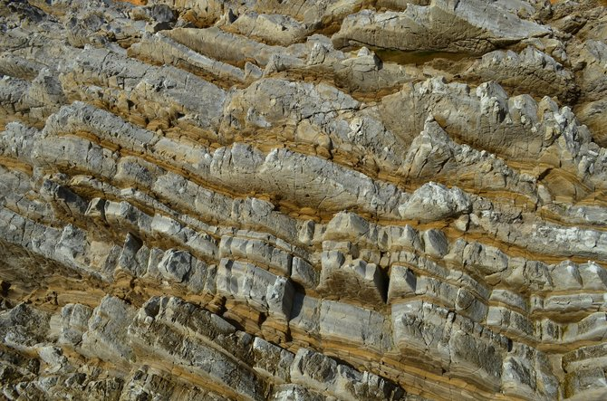 Close-up of Monterey Formation rocks at Montana de Oro State Park, San Luis Obispo, December 2013.