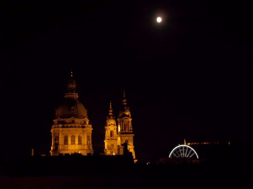 Warm night in Budapest, looking out on St. Stephen's Basilica.