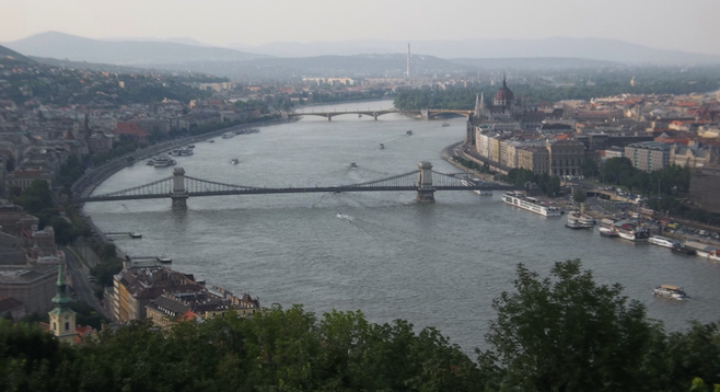 Overlooking Buda (left) and Pest  (right)  on the Danube.
