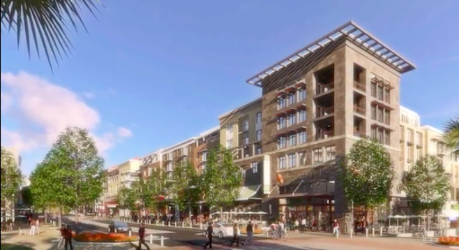 "Architectural rendering of One Paseo's buildings along ""Main Street"""