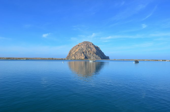 The beautiful Morro Rock, looking northwest across Morro Bay. January 2014.