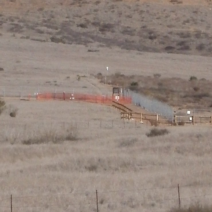 Section of closed trail (surrounded by temporary orange fencing)