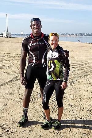 "Scottish triathlete Lesley Paterson wondered if ""this big guy who's all muscle-y"" would respect her."