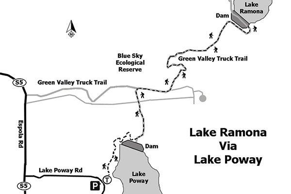 Map of Lake Ramona via Lake Poway